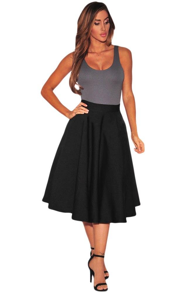 Casual Style de la Rue D'été Solide Couleur Noir Flare Plissé Une ligne Midi Robe Femmes Élégantes Taille Haute Vintage de Partie De Robe 65003