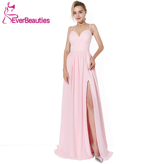 Pink Evening Dress 2019 Chiffon with Pleat Side Slit Evening Gowns A Line  Elegant Long Prom Party Dresses Robe De Soiree 9f3f838d1efa