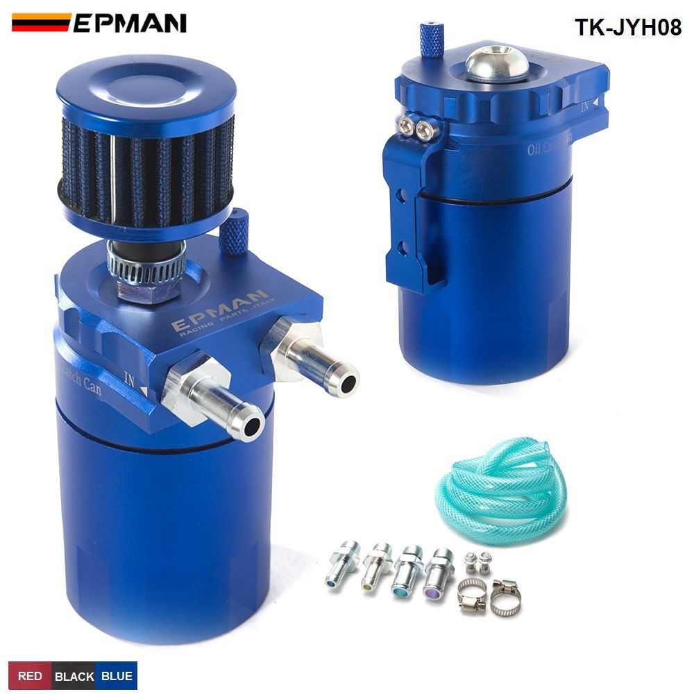 EPMAN Sport Universal Aluminum Oil Catch Can Reservoir Tank 400ml + Breather Filter TK-JYH08 все цены