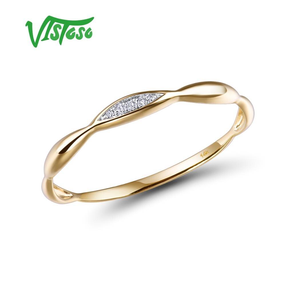 VISTOSO bagues en or pour femmes véritable 14 K bague en or jaune/blanc brillant diamant promesse bagues de fiançailles anniversaire bijoux fins - 2