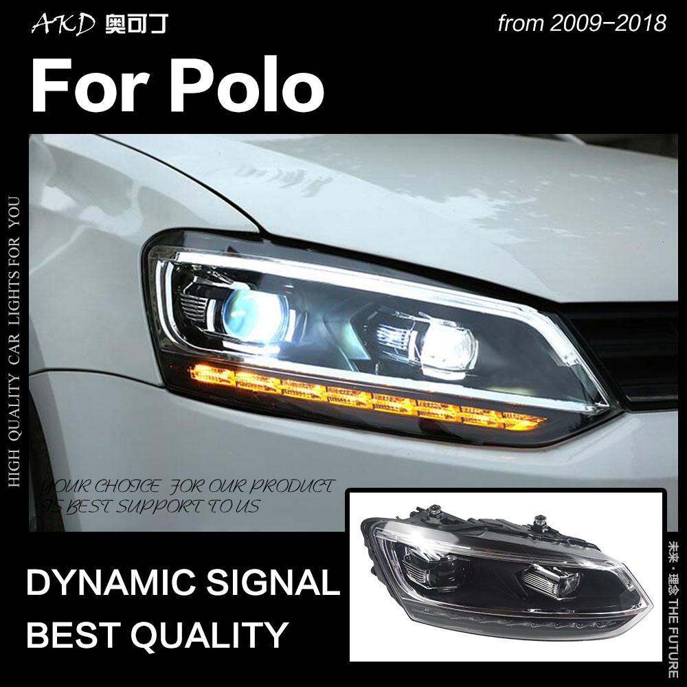 AKD Car Styling for Polo Headlights 2010 2018 Vento LED Headlight LED DRL Hid Head Lamp