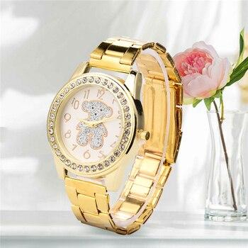 fb9080429394 Nuevo de lujo de cristal de oro oso vestido Casual de cuarzo reloj mujer