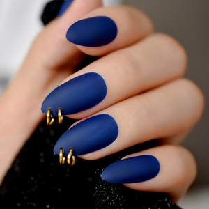 Gold Ring Matte Dark Blue Stiletto Fake Nails Oval Almond Pointed Frosted Full Cover Punk Style Press on False Wear Nail(China)