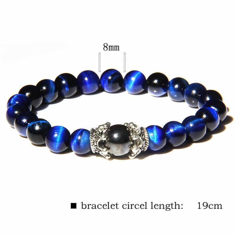 Bracelets en pierre d'oeil de tigre bleu Royal hommes plus récents charmes de couronne en argent Bracelet en pierre gemme polie Bracelet d'énergie pour Homme bijoux