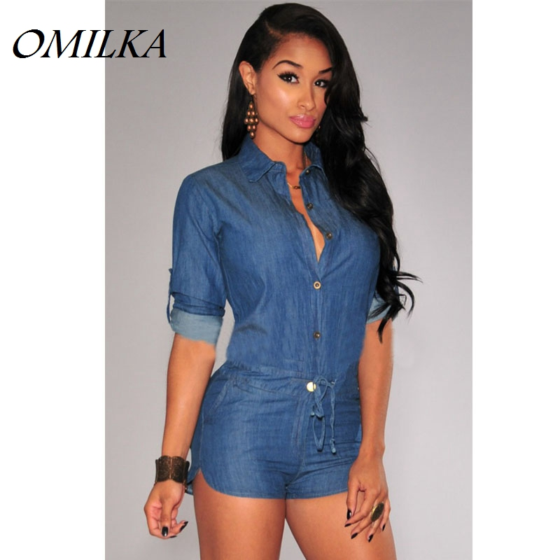 OMILKA Denim Romper Shorts 2020 Summer V Neck Rompers Womens Jumpsuit with Long Sleeve Bodycon Denim Overalls Women Jeans S-XXL