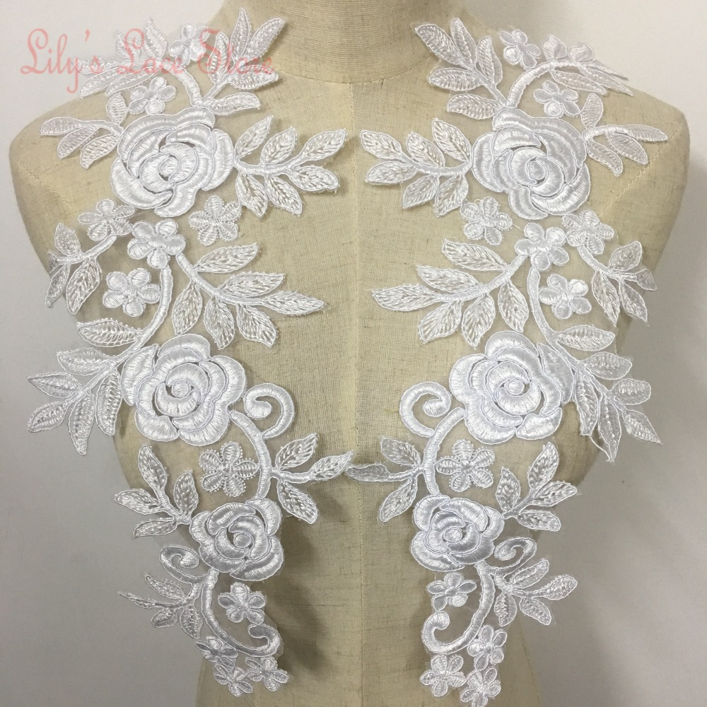 Wedding dress lace patch rose lace flowers with cording in pure white color embroidered organza lace motif corded lace appliques