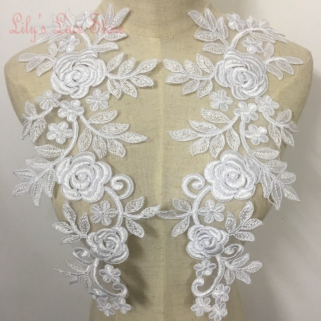 Wedding Dress Lace Patch Rose Lace Flowers With Cording In Pure