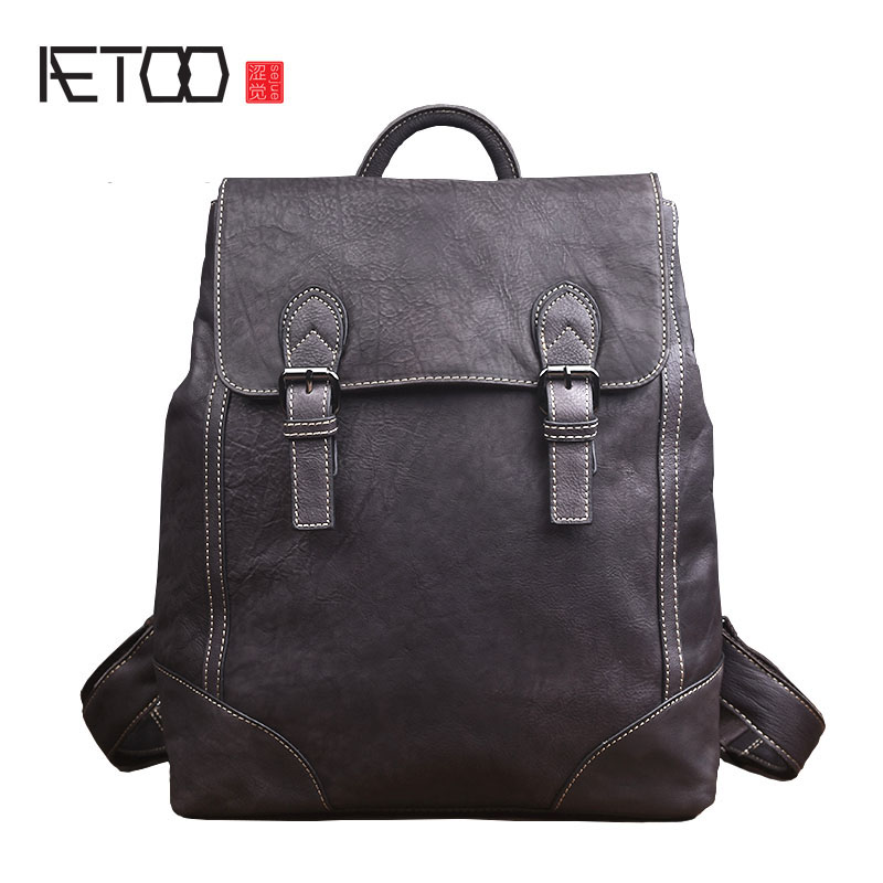 AETOO 2018 new retro leather men's shoulder bag fashion leather casual travel bag fashion backpack female Korean version qiaobao 2018 new korean version of the first layer of women s leather packet messenger bag female shoulder diagonal cross bag