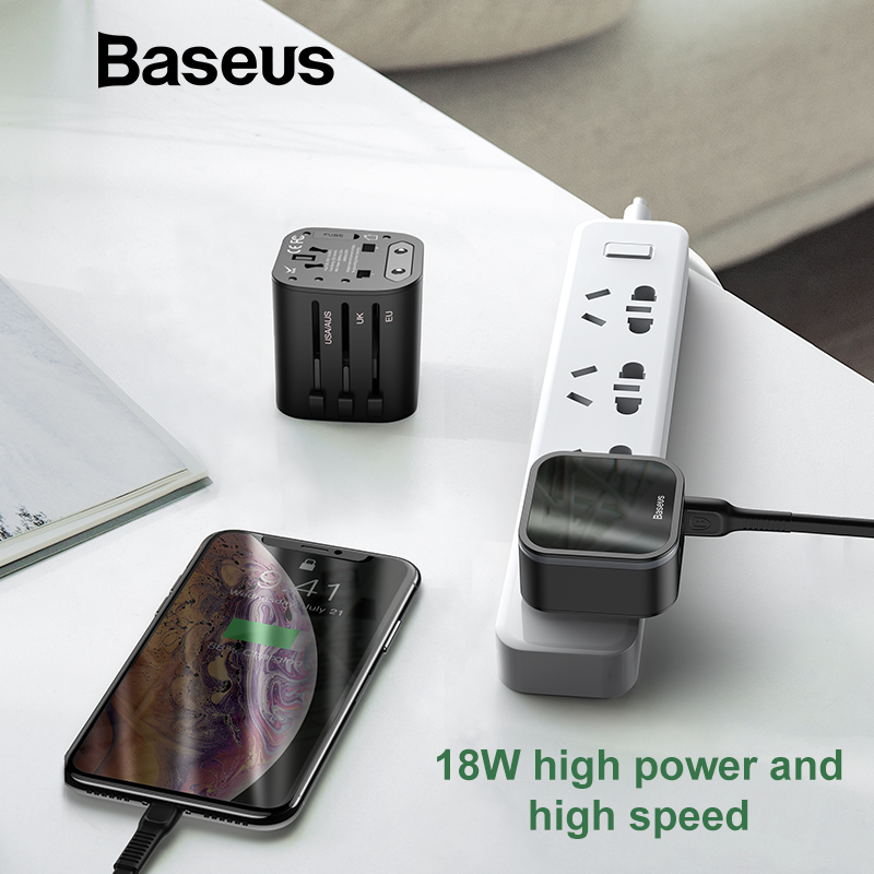 Baseus 18W Travel EU USB Charger Quick Charge 3.0 for Samsung Phone Charger USB-C PD 3.0 Fast Charger for iPhone 11 Pro 3