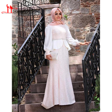 Best Selling Muslim Puffy Long Sleeve Sexy A -Line Islamic Evening Prom Dresses With Hijab 2016 Abaya In Dubai Kaftan Party Gown