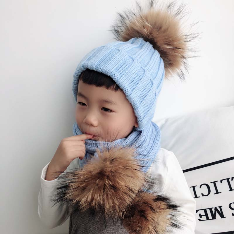 Kids Winter Hat Scarf Set Baby Warm Knitted Beanie Boys Girls Real Fur Pompom Hat For Children Winter Cap Skullies