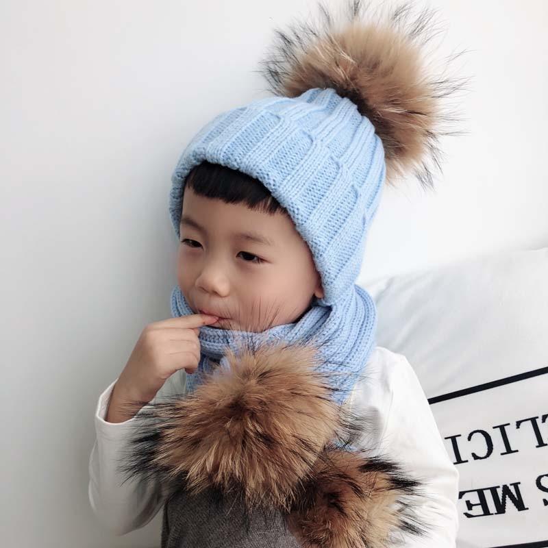 Kids Winter Hat Scarf Set Baby Warm Knitted Beanie Boys Girls Real Fur Pompom Hat For Children Winter Cap Skullies