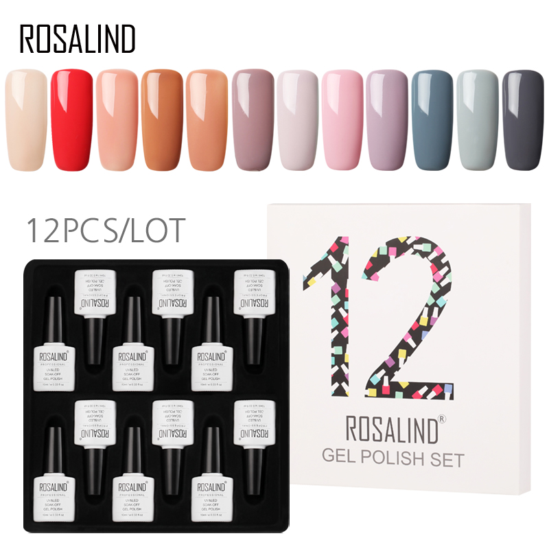 (12PCS/LOT) ROSALIND 10ML Nail Polish Kit Vernis Semi Permanent  Pure Colors Gel Lacquer Set For Manicure Soak off Nails Art(12PCS/LOT) ROSALIND 10ML Nail Polish Kit Vernis Semi Permanent  Pure Colors Gel Lacquer Set For Manicure Soak off Nails Art