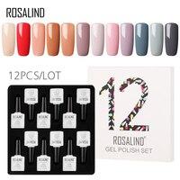 (12PCS/LOT) ROSALIND 10ML Nail Polish Kit Vernis Semi Permanent Pure Colors Gel Lacquer Set For Manicure Soak off Nails Art