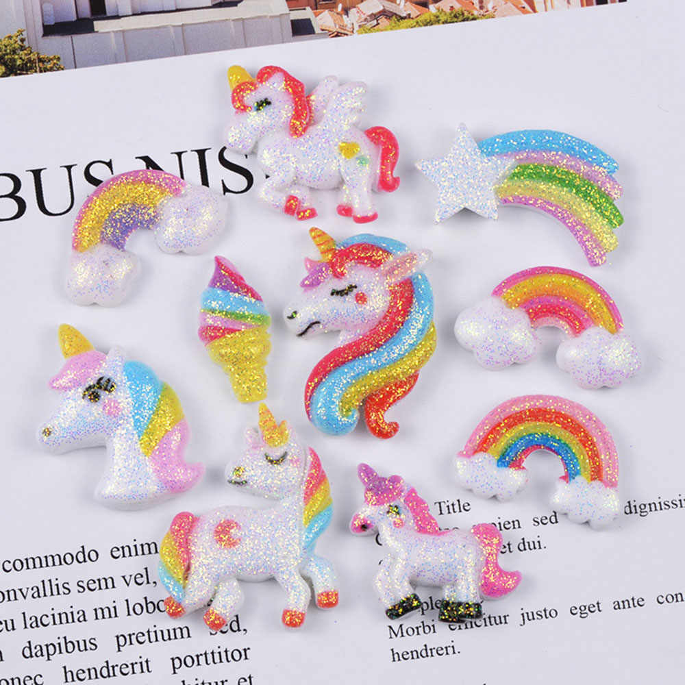 10Pcs Rainbow Unicorn Polymer Slime Charms Lizun Modeling Clay DIY Accesorios Plasticine Toy for Kids Slime Supplies Filler