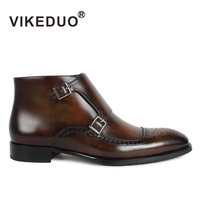 Vikeduo Hot Vintage Handmade Men Business Leather Boot Beogue Double Fashion Buckle Monk Dress Party Luxury heel Fur Men Boots