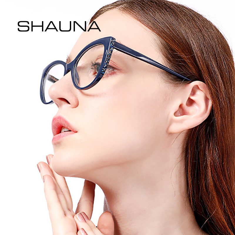 SHAUNA Spring Hinge Luxury Crystal Decoration Cat Eye Eyeglasses Frame Women Resin Lens Optical Glasses