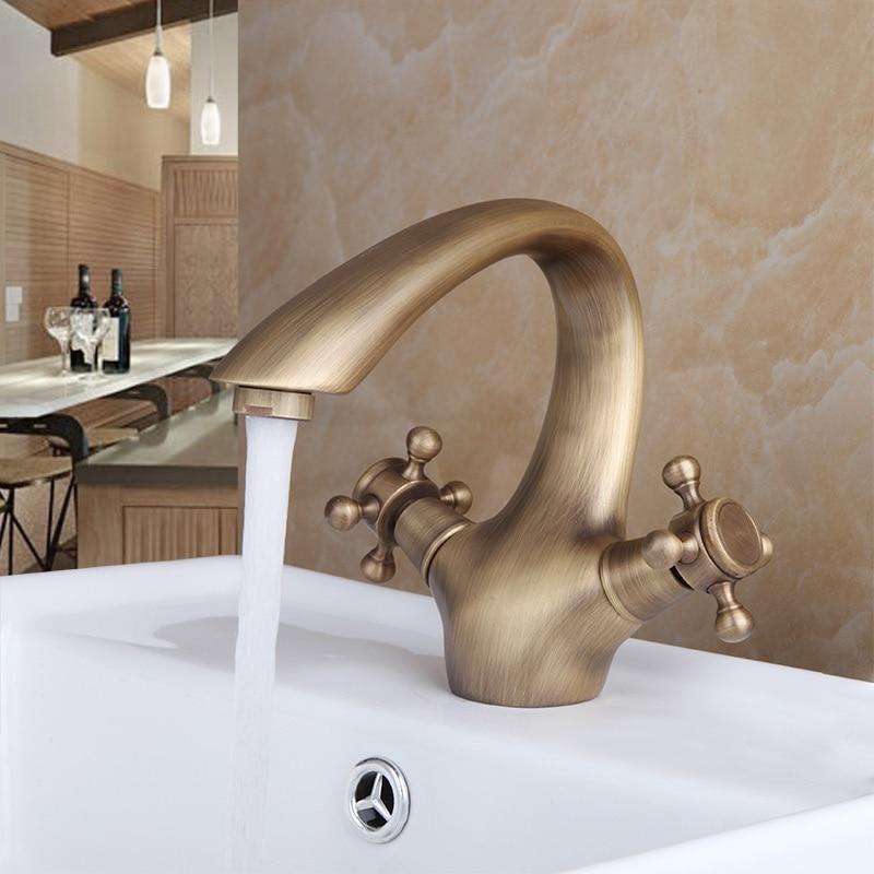 ФОТО e_pak Contemporary 8638/16 Torneira Banheiro Double Handle Control Antique Brass Bathroom Sink Torneira Tap Mixer Basin Faucet