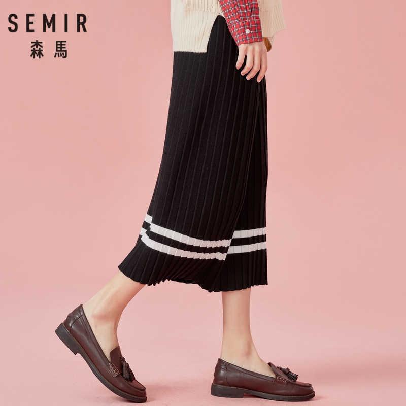 SEMIR Женская плиссированная трикотажная юбка в рубчик длиной до икры с контрастной полосой на подкладке с высокой талией трикотажная резинка на поясе Женская юбка