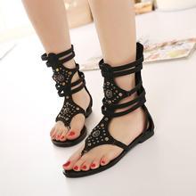 Women sandals 2015 Fashion Flip Flops Snakeskin Gladiator Sandals Women Shoes Rivets Rhinestone zapatos mujer