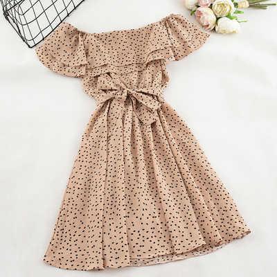 Yaz kadın çiçek elbise seksi kapalı omuz kısa kollu vintage plaj elbise bohemian A-Line Polka Dot Mini parti elbise Vestido