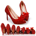 New arrival RED luxury princess slipper big rhinestone pointed toe shoes crystal women's wedding shoes platformance party pumps