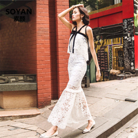 DoreenBow HIGH QUALITY Summer Sexy Boho Style Dress Lace Hollow Out Fishtail Ankle Length Women Fahion