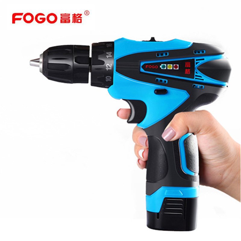 FOGO Waterproof motor 16 8v Rechargeable Lithium Battery hand Electric Drill driver Cordless Electric Screwdriver gun