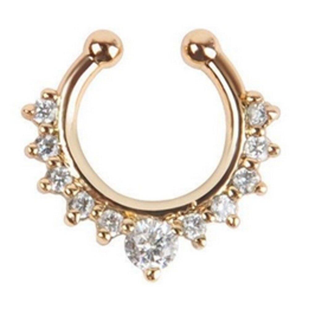 Titanium Crystal Fake Nose Ring Septum Piercing Hanger Clip On