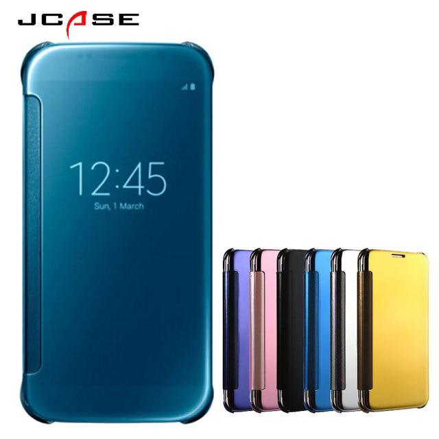 pretty nice 7f92a 66c97 Luxury Mirror Flip Cover For Samsung Galaxy A7 A7 2016 Suto Sleep Window  Mobile Phone bag for Galaxy A7 2017