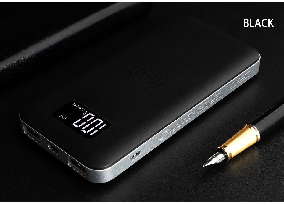8000 mAh 5 W QI sans fil LCD chargeur 2A chargeur portatif à deux bornes usb pour iPhone X XS Max 8 Samsung chargeur de batterie sans fil de charge