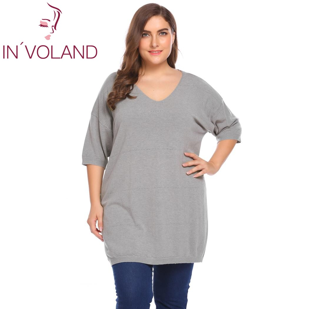 IN'VOLAND Plus La Taille XL-5XL Femmes Chandail Tops Automne V-cou Demi Manches Solide Occasionnel Mince Tricot Grand Pull Chemise Grande Taille