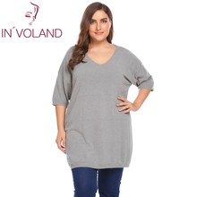 IN'VOLAND Plus Size XL-5XL Women Sweater Tops Autumn V-Neck Half Sleeve Solid Casual Thin Knit Large Pullover Shirt Big Size