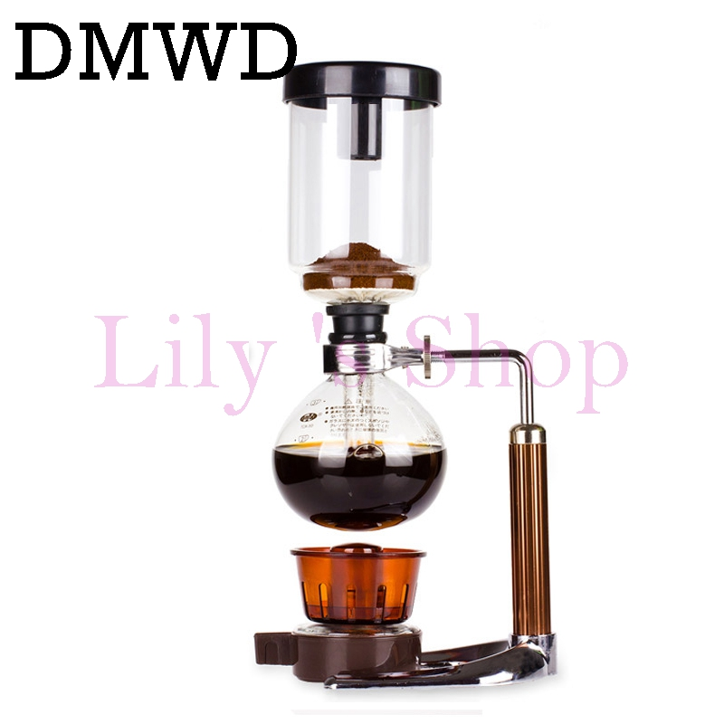 DMWD Japanese Style Siphon coffee maker Tea Siphon pot vacuum coffeemaker glass Hydrocone type coffee machine filter 3cup 5cups