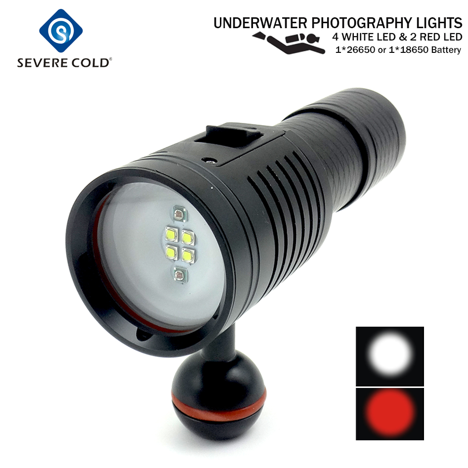 Severe Cold LED Diving Flashlight Torch Rechargeable Underwater Photography Lights Video Lamp White Red LED Scuba Photo Light-in LED Flashlights from Lights & Lighting    1
