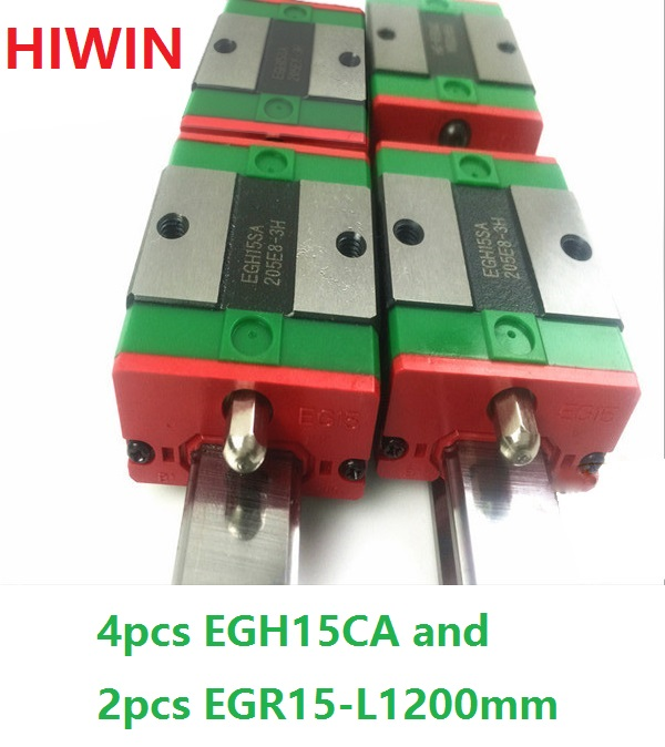 2pcs 100% original HIWIN linear guide rail EGR15 -L 1200mm + 4pcs EGH15CA linear block for CNC router