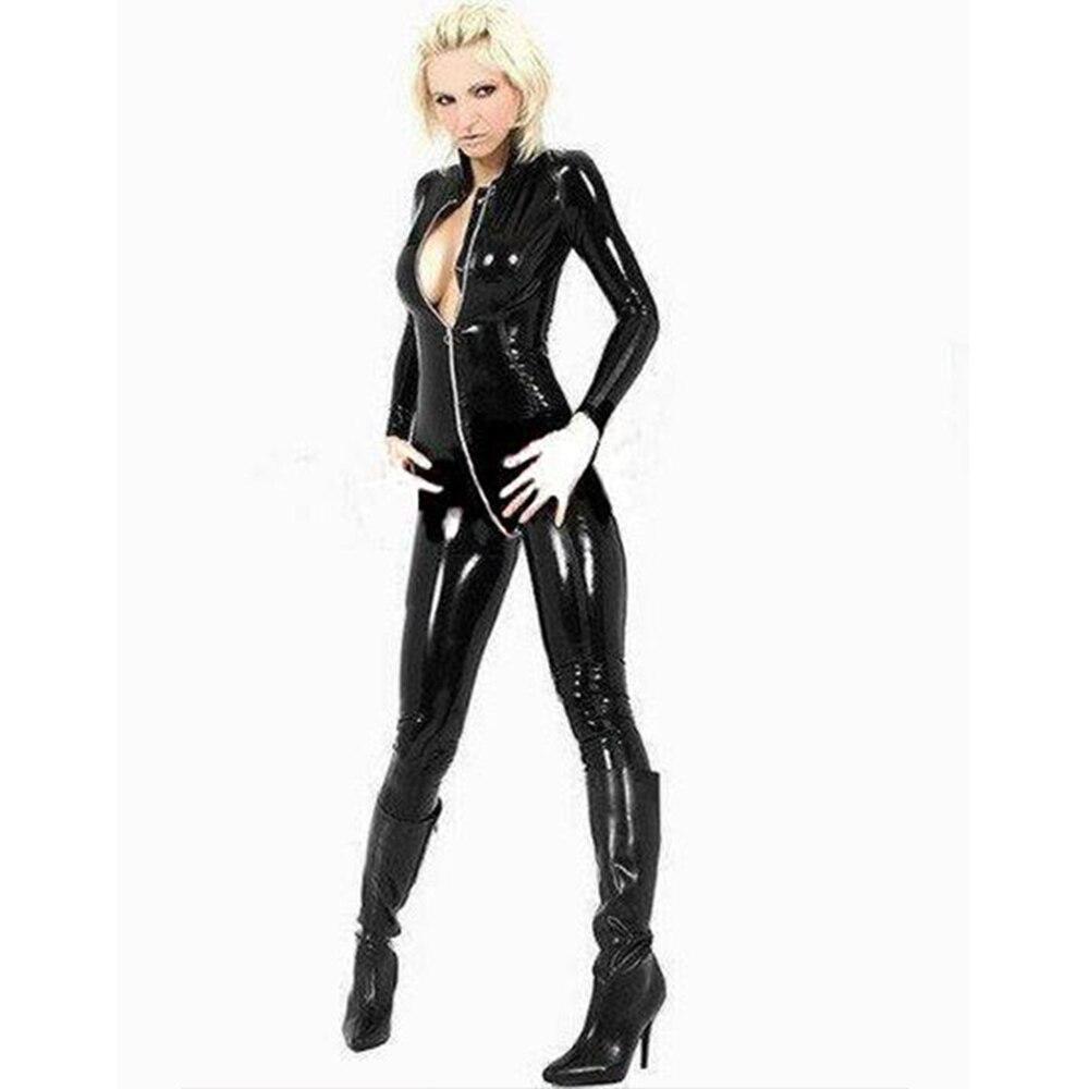 Black Faux Leather Catsuit Women Wet Look Vinyl Latex Zipper Crotch Nightclub Jumpsuit Long Sleeve Sexy Catwoman Costume