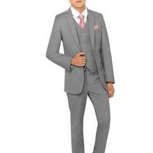 Новые костюмы для мальчиков на свадьбу, серый однобортный смокинг, праздничная одежда для мальчиков