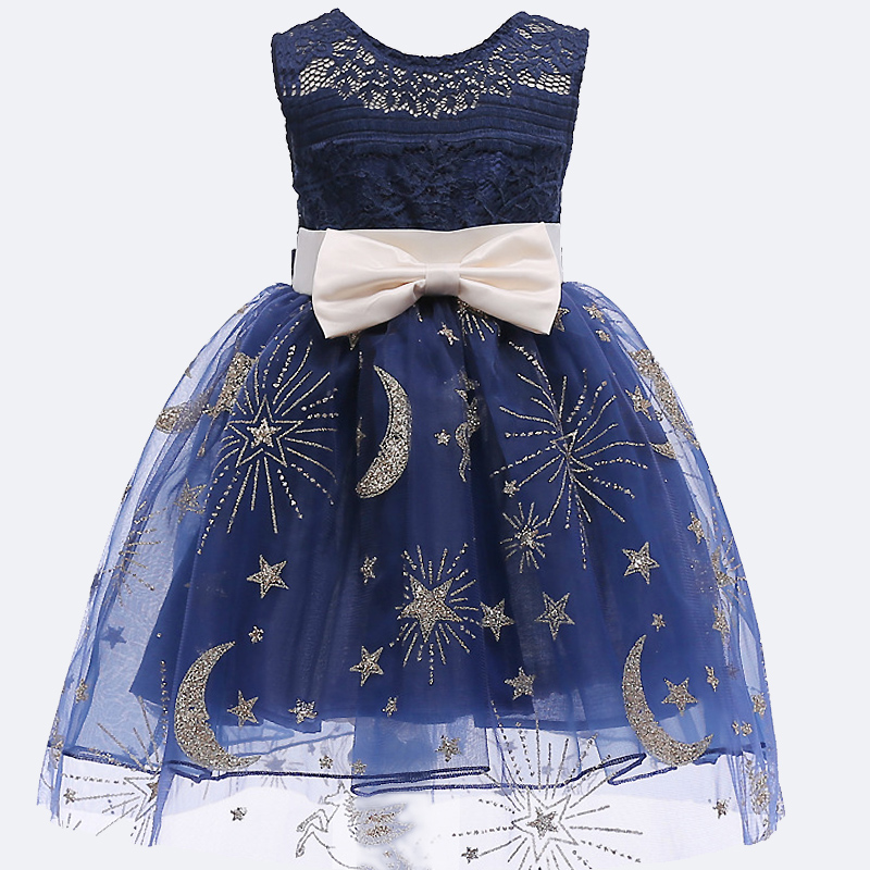 2018 Summer Baby girls Star Lace dress for Children Flower Girls sleevenes print Dress Party Wedding Dress Princess tutu clothes button up flower print dress