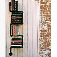 American retro, wrought iron pipe shelf.. Hanging shelf