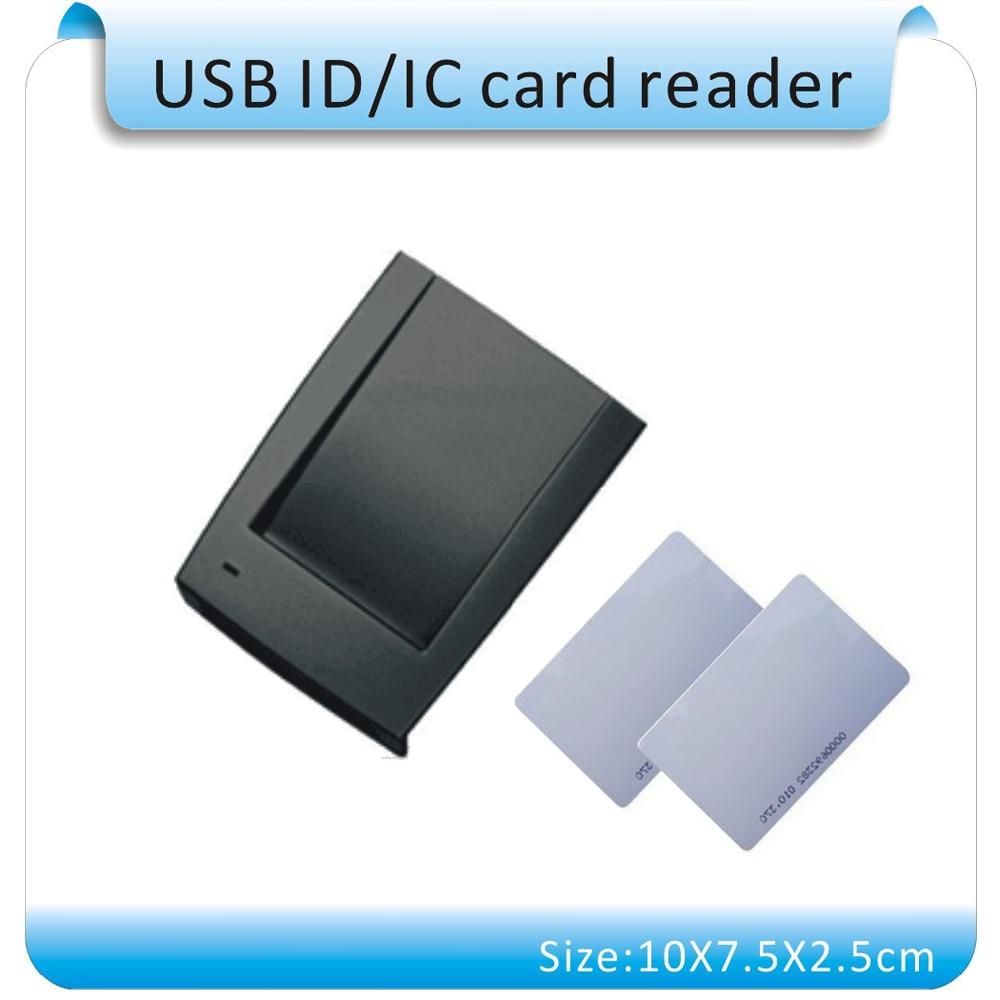 Free Shipping Production 125KHZ Frequency RFID Reader  USB Virtual COM(RS232) Port, USB To Take Power+5PCS Card