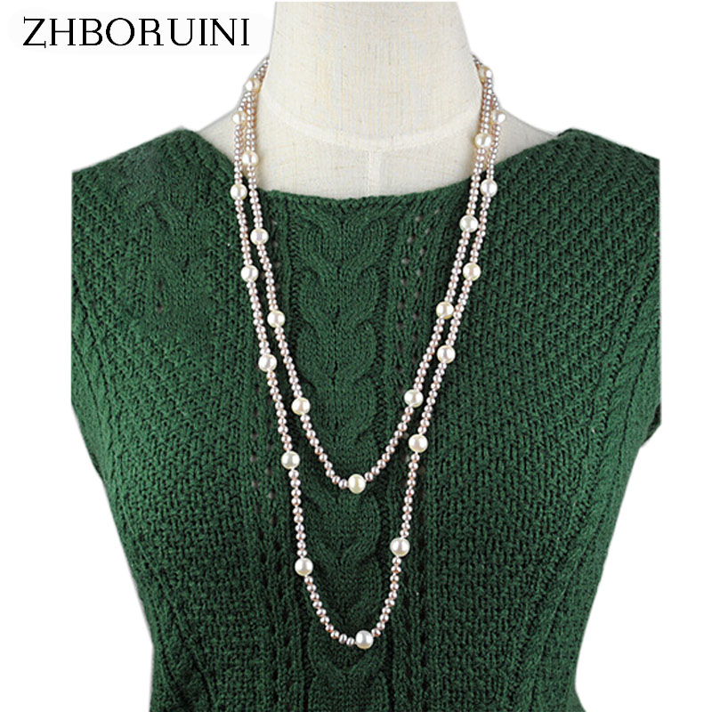 ZHBORUINI 2019 Fashion Long Multilayer Pearl Necklace Purple Natural Freshwater Pearl Choker Charm Necklace Jewelry For WomenZHBORUINI 2019 Fashion Long Multilayer Pearl Necklace Purple Natural Freshwater Pearl Choker Charm Necklace Jewelry For Women