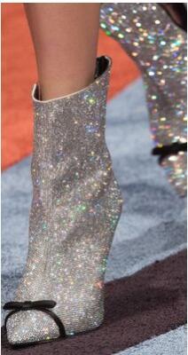De Mode Grande Taille Crystal Minces Mi Chaussures mollet Troupeau Bottes Pointu Chaude Femmes Bout Talons Cristal 7rS1q7P