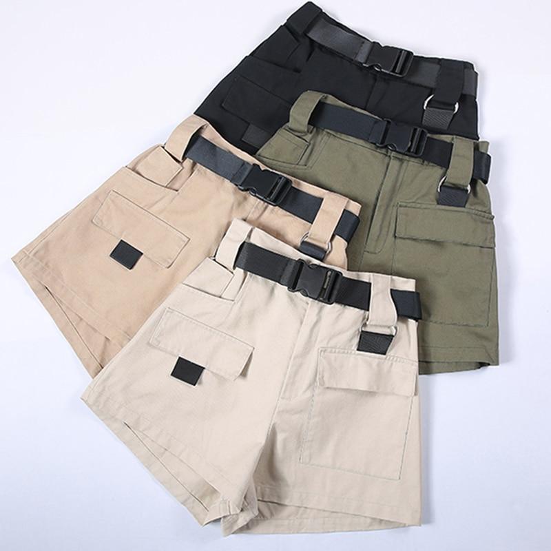 3XL Plus Size Women Summer Shorts With Belt 2019 Fashion Casual Streetwear Cargo Shorts Feminino BF Style Army Green Short Femme 2