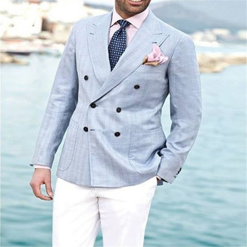 2018 Light Blue linen Double Breasted men suit with White Pants Groom Tuxedos Wedding Mens Prom Dinner Party Suits Jacket+pants