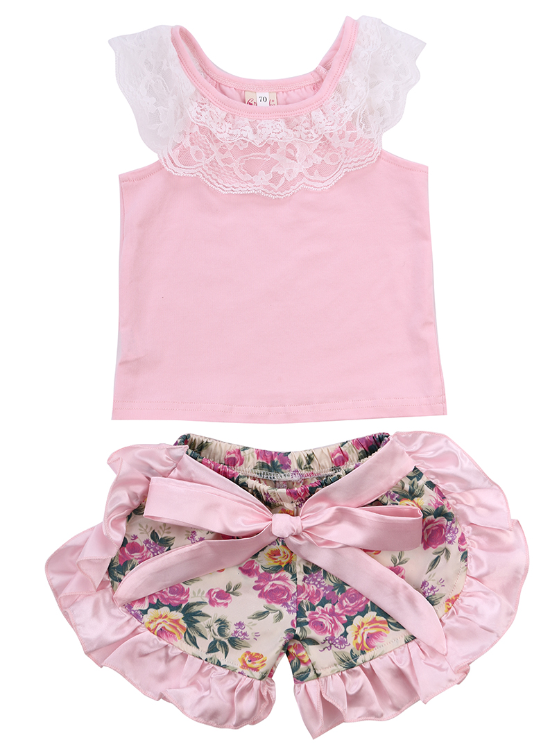 Pudcoco Infant Newborn Baby Girl Clothes Cotton Pullover Lace T-shirt Floral Pants Outfits Set 0-24Months Helen115 newborn baby boy girl 5 pcs clothing set cotton cartoon monk tops pants bib hats infant clothes 0 3 months hight quality