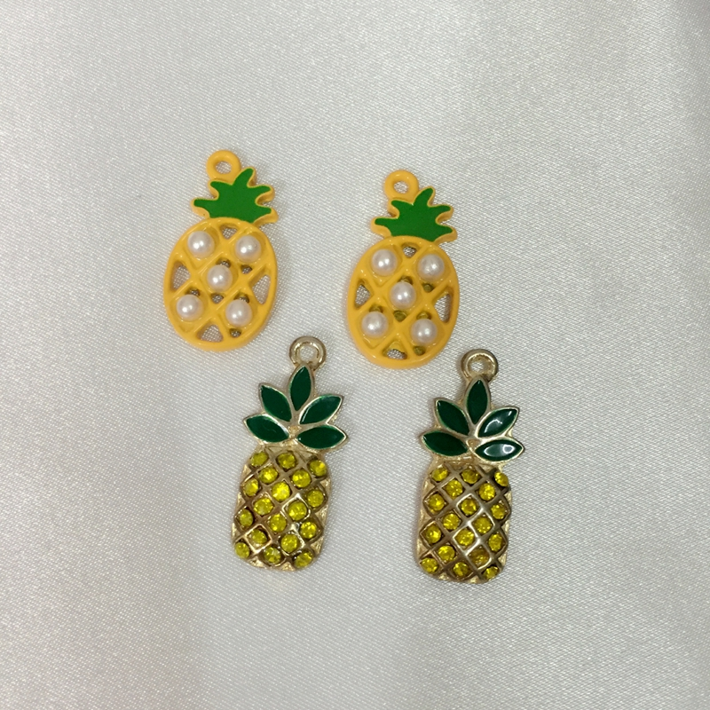24Pcs/lot Fruit Ananas Tone Glazing KC Color Alloy Pendants Jewelry Charms