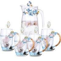 Цветной эмаль стеклянный чайник чашки кофе бытовой цветок чайник кружки для сока термостойкие посуда друг подарки