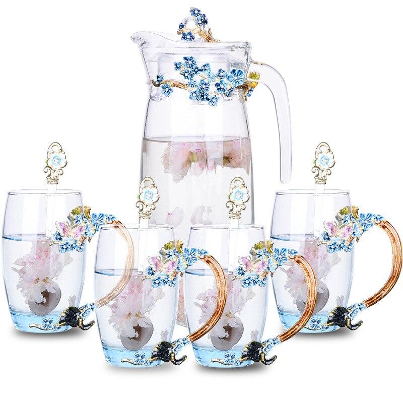 Colorato smalto bollitore di vetro tazze di caffè per la casa del fiore teiera tazze di succo di resistente al calore bicchieri amico regali