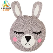 Ins Cute Animal Rabbit Cushion Knitted Crochet Handmade Pillow Plush Soft Toy for Children 30*30cm Home Decoration